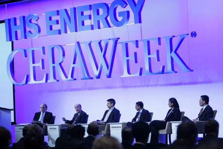 Massachusetts Institute of Technology professors and associate professors participate in a Frontiers of Science and Innovation: Future Technologies to Meet the Energy and Climate Challenge talk during the final day of IHS CERAWeek at the Hilton Americas in Houston Friday, Feb. 26, 2016. ( Michael Ciaglo / Houston Chronicle )