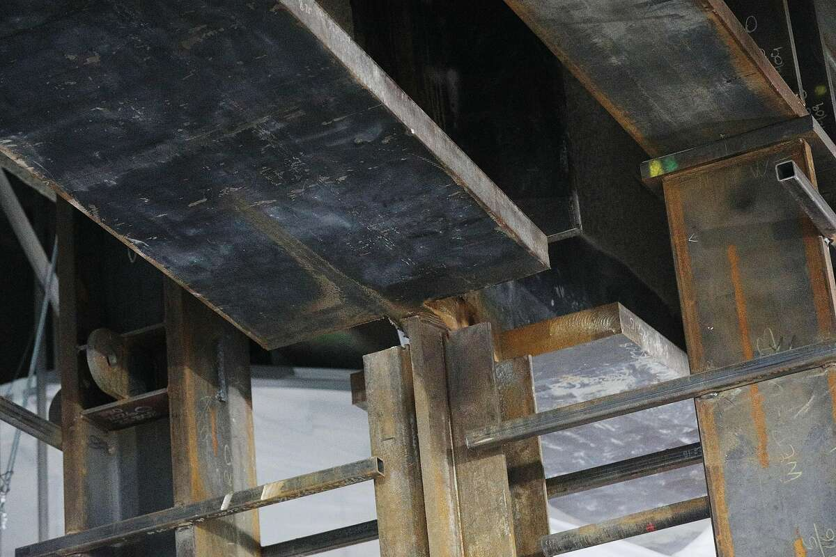 The beam where a fissure was first discovered and now with a section removed for testing is seen on the bus deck at the closed Transbay Transit Center on Wednesday, January 9, 2019 in San Francisco, Calif.