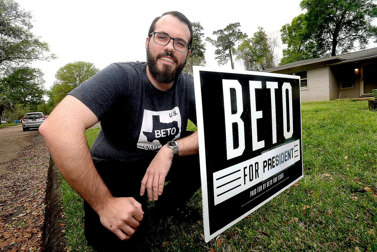 Will Rogers of Beaumont puts a Beto O'Rourke sign in his yard to officially show his support for the newly-announced 2020 presidential candidate. Photo taken Thursday, March 14, 2019 Kim Brent/The Enterprise