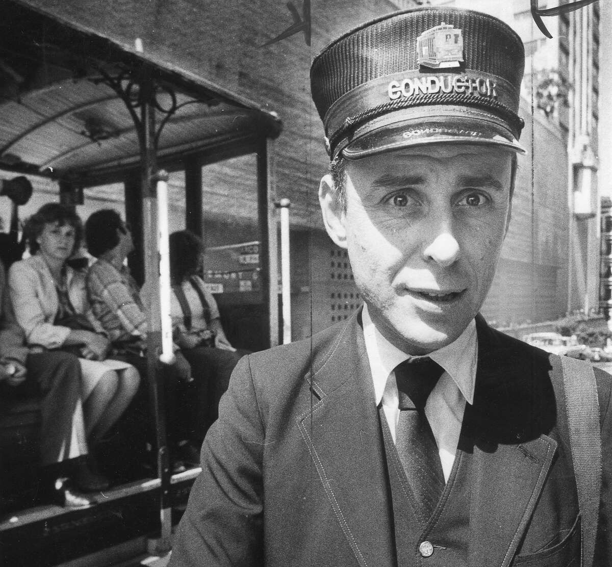 Muni Cable Car conductor Richard Morley, pictured on Sept. 14, 1982. Morley got in hot water with Muni for breaking the rules and making his own vintage uniform.