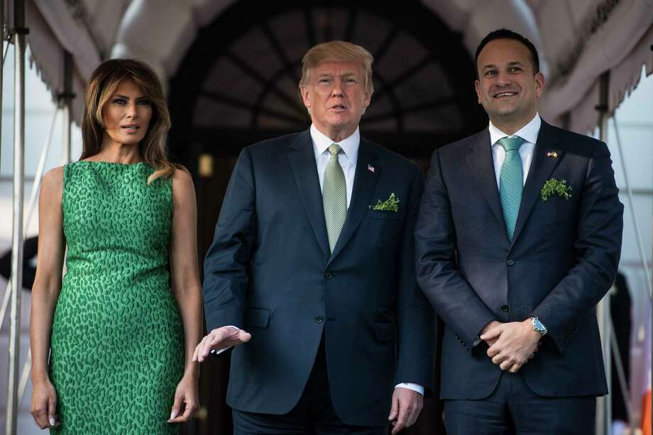 President Donald Trump and first lady Melania Trump welcome Irish Prime Minister Leo Varadkar at the South Portico as he arrives at the White House on Thursday. Photo: Washington Post Photo By Jabin Botsford / The Washington Post