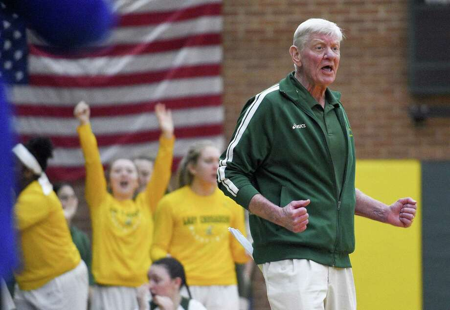 Trinity Catholic girls basketball coach Mike Walsh on Saturday will try to become the second known CIAC coach to lead the same school to both a boys and girls state championship. Photo: Matthew Brown / Hearst Connecticut Media / Stamford Advocate