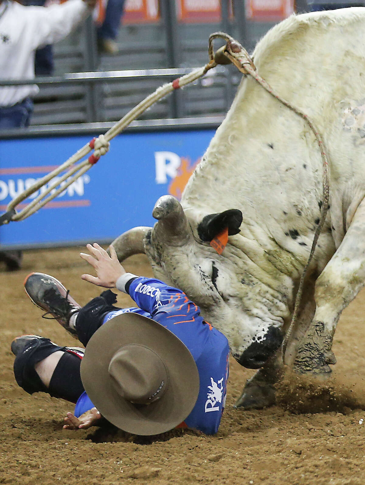 Bullfighter Cody Webster is hit by Hambone after Trevor Kastner's ride during RodeoHouston Semifinal 2 at NRG Stadium on Thursday, March 14, 2019, in Houston.