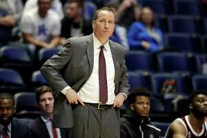 Texas A&M head coach Billy Kennedy watches in the second half of an NCAA college basketball game against Mississippi State at the Southeastern Conference tournament Thursday, March 14, 2019, in Nashville, Tenn. Mississippi State won 80-54. (AP Photo/Mark Humphrey)