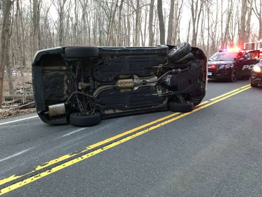 A driver escaped serious injury early Thursday evening on March 14, 2019 after their vehicle flipped on its side on Route 136. Photo: Easton Volunteer Fire Department Photo