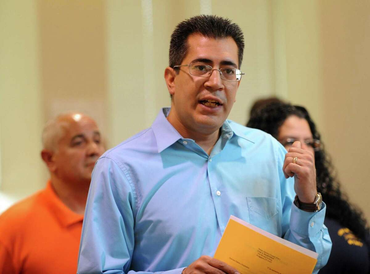 State Rep. Ezequiel Santiago at the meeting between Mayor Bill Finch and parents at Cesar Batalla School in Bridgeport on Oct. 4, 2013.