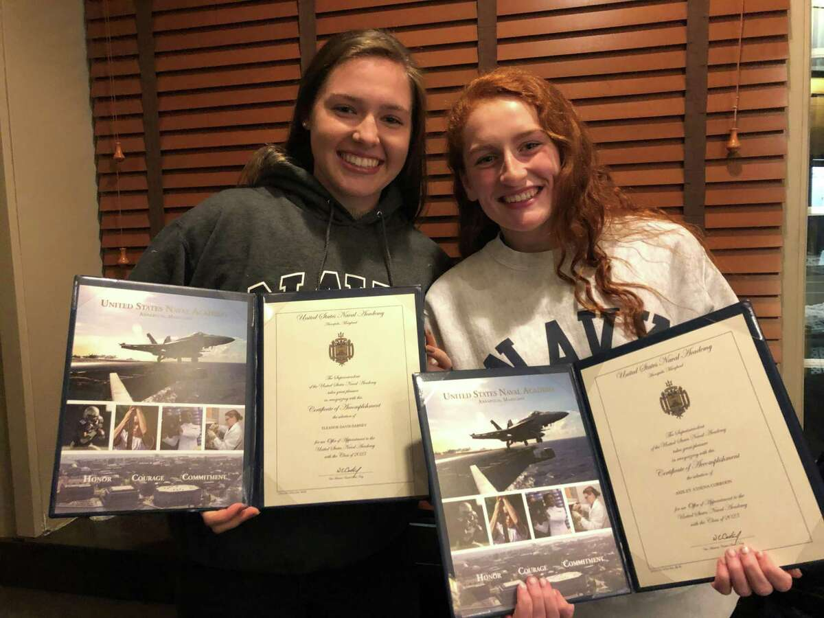 Greenwich High School senior Eleanor Dabney and Sacred Heart senior Athena Corroon will attend the Naval Academy this fall. In addition to their studies, Dabney will row crew, and Corroon will play lacrosse.