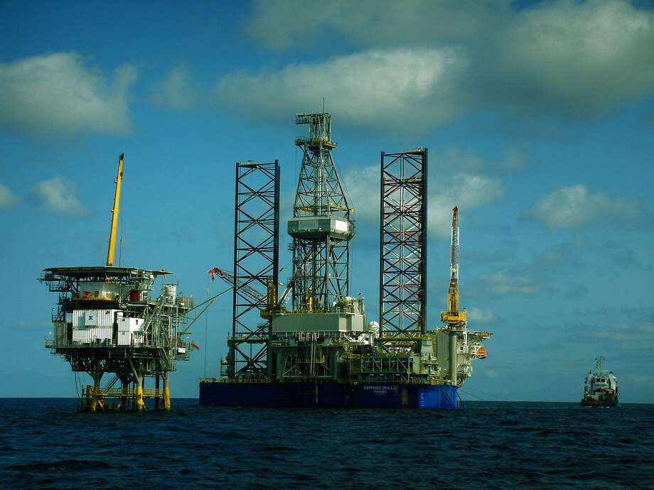 A drilling rig working for Houston-based Vaalco Energy approaches  the Ebouri platform, offshore Gabon. Photo: Vaalco Energy