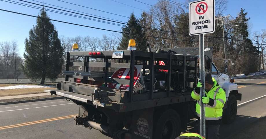 Police are advising drivers that six new No-U turn signs have been installed near Nathan Hale & Norwalk High schools. No U-turns are permitted in the designated school zone along Strawberry Hill Ave between Walter Avenue and County Street in both lanes. Photo: Norwalk Police Department Photo