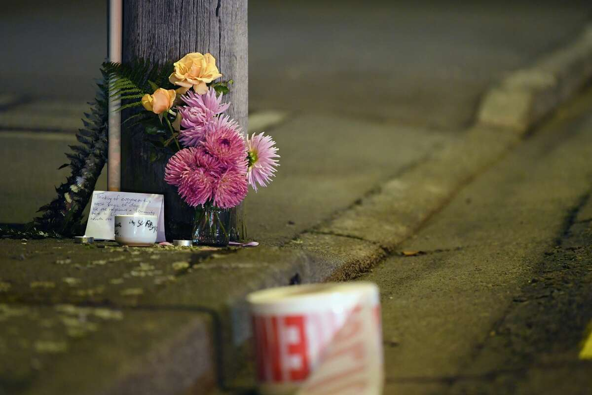 A floral tribute is seen on Linwood Avenue near the Linwood Masjid on March 15, 2019 in Christchurch, New Zealand. 49 people have been confirmed dead and more than 20 are injured following attacks at two mosques in Christchurch.