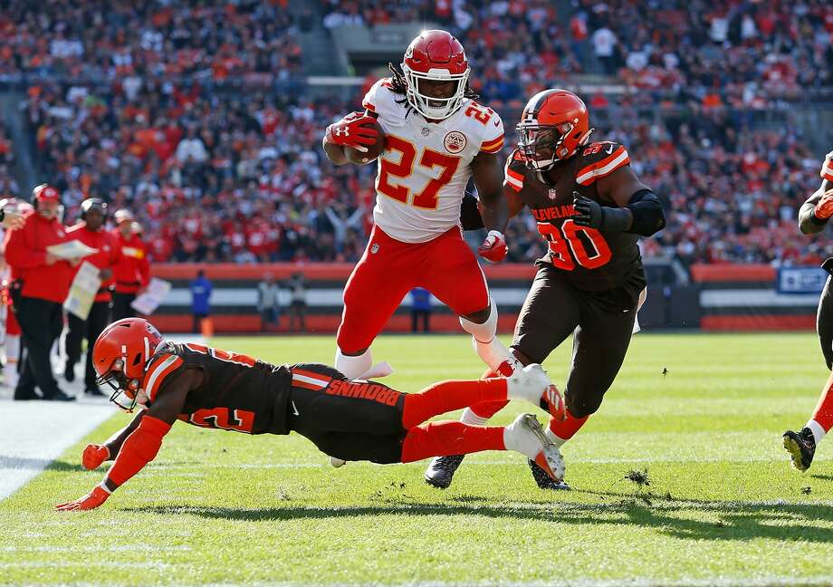 PHOTOS: NFL's best available free agents  CLEVELAND, OH - NOVEMBER 04:  Kareem Hunt #27 of the Kansas City Chiefs avoids a tackle by Jabrill Peppers #22 of the Cleveland Browns during the second quarter at FirstEnergy Stadium on November 4, 2018 in Cleveland, Ohio. (Photo by Kirk Irwin/Getty Images) >>>See which free agents remain available during the 2019 offseason ...  Photo: Kirk Irwin/Getty Images