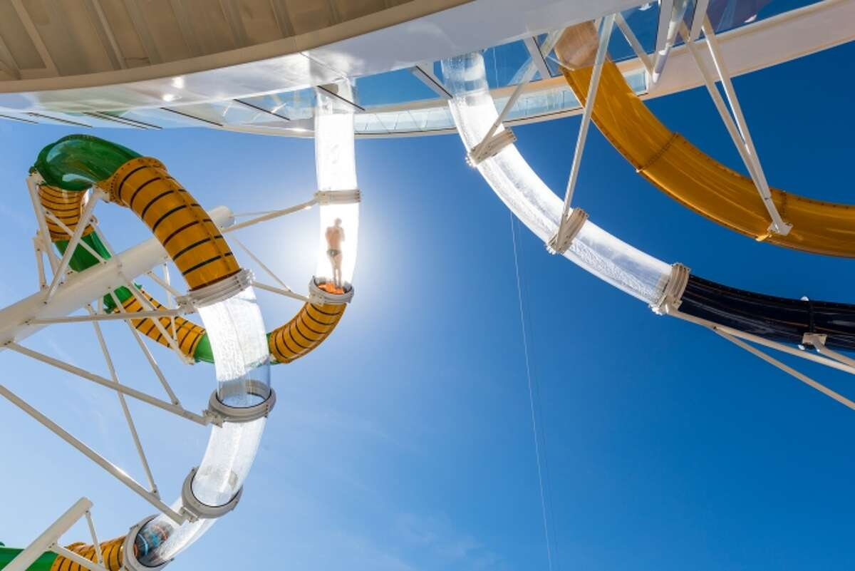 """Adventure of the Seas boasts """"only-on-Royal"""" features like the """"Splashaway Bay"""" and the """"Perfect Storm"""" waterslides (pictured here)."""