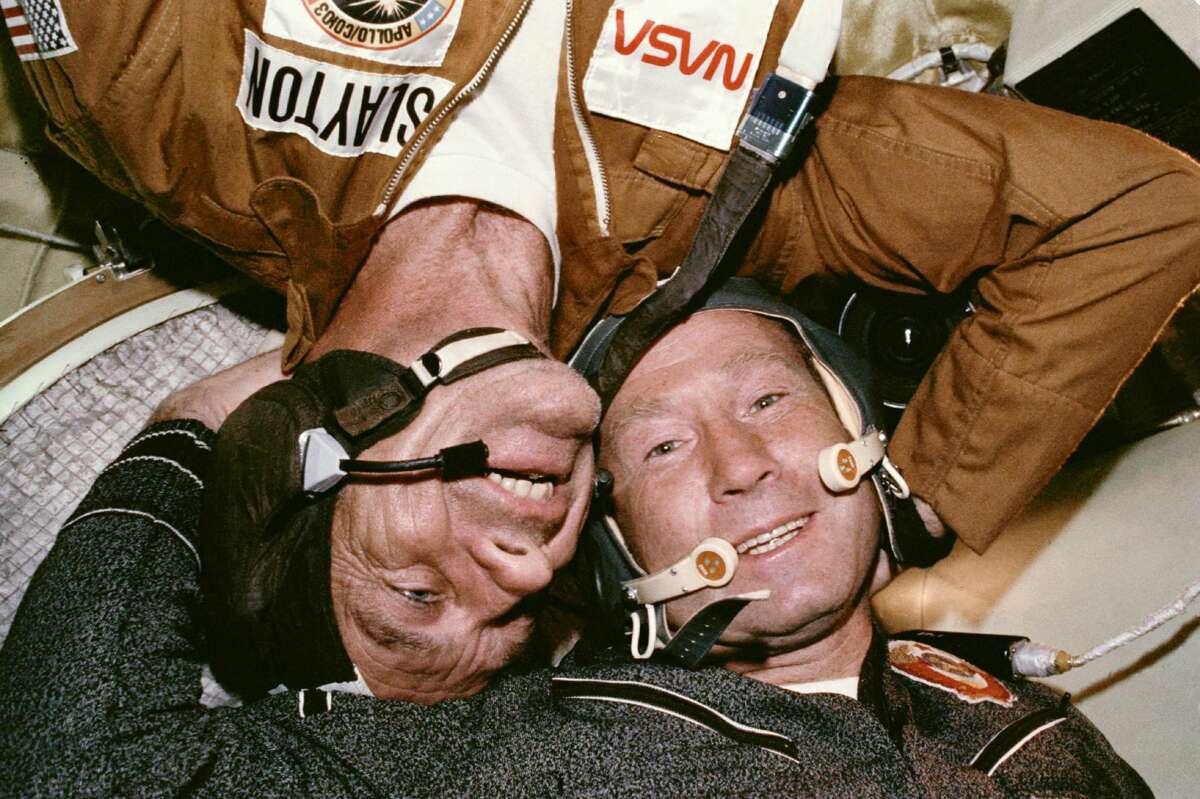"Astronaut Donald ""Deke"" Slayton and Cosmonaut Aleksey A. Leonov in the Soyuz orbital module in July 1975 during the joint U.S.-USSR Apollo-Soyuz Test Project docking in Earth's orbit mission."