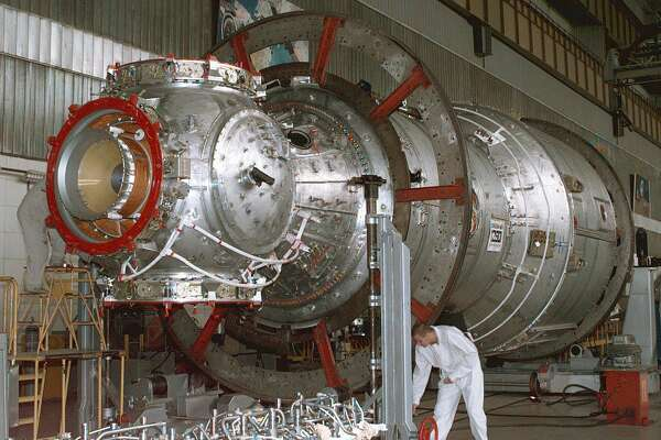 This Oct. 1, 1997 photo from the Kkrunichev State Research and Production Space Center in Moscow shows the service module that is the first fully Russian contribution to the International Space Station, providing now early power, propulsion, life support, communication and living quarters. (NASA)