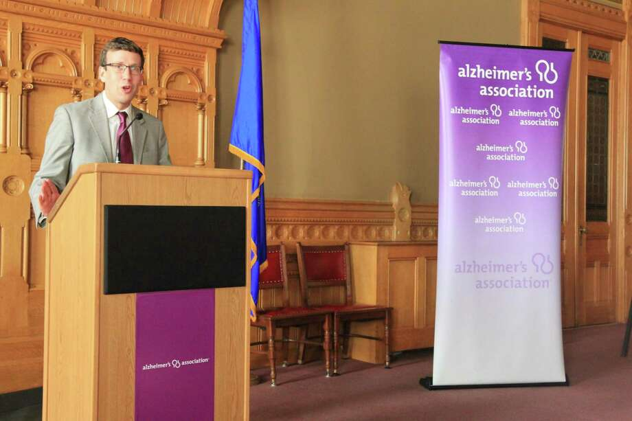 State Sen. Matt Lesser speaks at the Alzheimer's Association's Connecticut Chapter's Advocacy Day at the Capitol in Hartford Wednesday. Photo: Contributed Photo