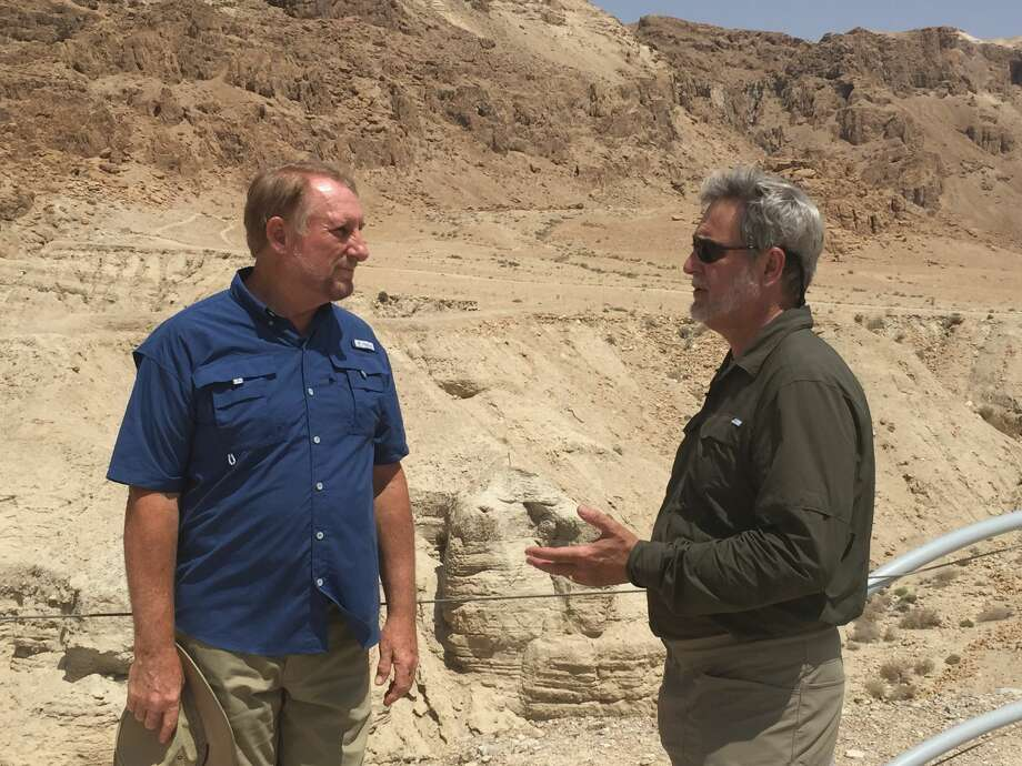 "Timothy Mahoney, right, speaks with Dr. Randall Price, former director of Qumran excavations, in ""Patterns of Evidence: The Moses Controversy."" Photo: Courtesy Photo"