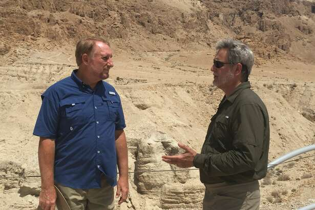 "Timothy Mahoney, right, speaks with Dr. Randall Price, former director of Qumran excavations, in ""Patterns of Evidence: The Moses Controversy."""