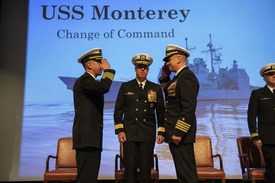 190308-N-DO281-378 NORFOLK (March 8, 2019) Capt. Dave Stoner, left, is relieved by Capt. Anthony Littmann as USS Monterey (CG 61) commanding officer during a change of command ceremony. Monterey is undergoing planned shipyard work while in the maintenance phase of the Optimized Fleet Response Plan (OFRP). The ship serves as the ballistic missile defense commander for Carrier Strike Group (CSG) 10. (U.S. Navy photo by Mass Communication Specialist 3rd Class Trey Fowler) Photo: Mass Communication Specialist 3rd Class Trey Fowler / Digital