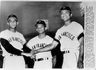 b/w photo of the three Alou brothers - L to R: Jesus, Matty and Felipe - 1963
