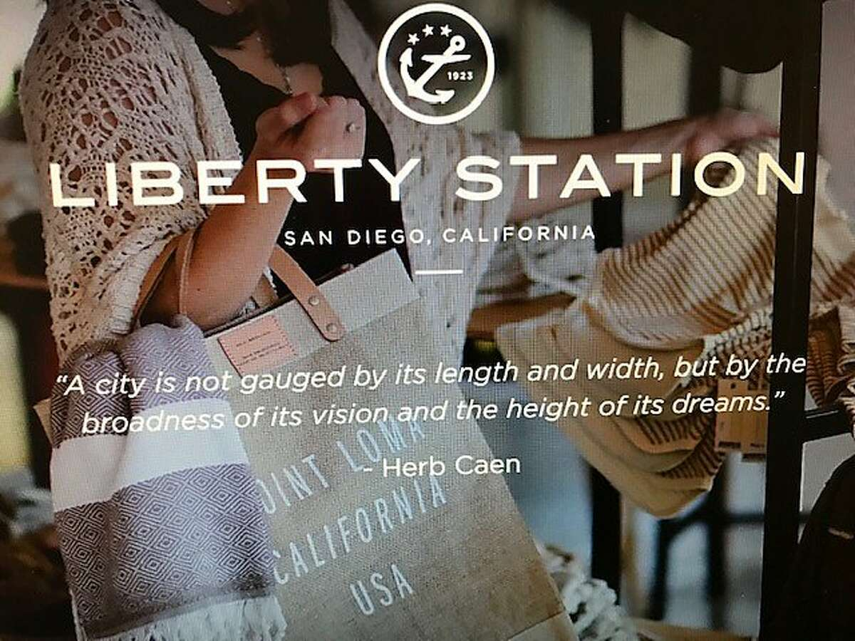 Landing page for Liberty Station in San Diego, quoting Herb Caen