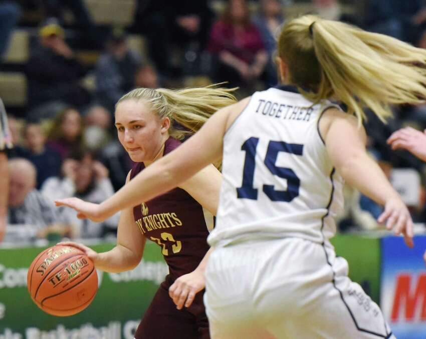 Bishop Gibbons' Abigail Kienzle dribbles the ball during a game against Franklinville on Friday, March 15, 2019 at the McDonough Sports Complex in Troy, NY. (Phoebe Sheehan/Times Union)