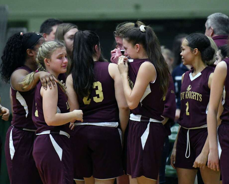 Bishop Gibbons players react after loosing to Franklinville on Friday, March 15, 2019 at the McDonough Sports Complex in Troy, NY. (Phoebe Sheehan/Times Union) Photo: Phoebe Sheehan, Albany Times Union / 40046439A