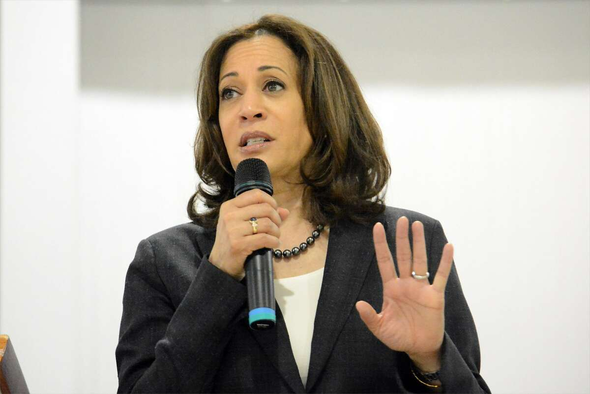 In this March 9, 2019, photo, Sen. Kamala Harris, D-Calif., speaks during an event in St. George, S.C.