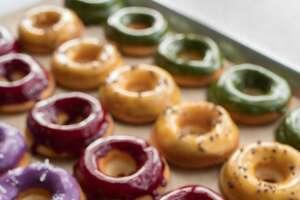 Matcha, mango, blueberry and ube coconut mochi donuts at Third Culture Bakery in Berkeley, Calif. on Sunday, January 27, 2019.