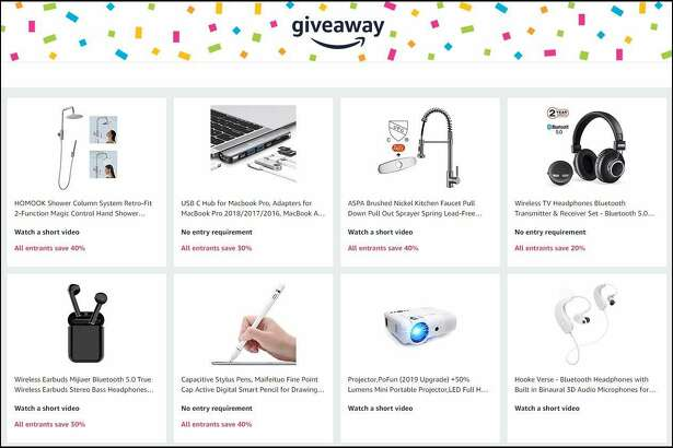 A small sampling of some of the prizes -- and discounts -- available via Amazon Giveaway.