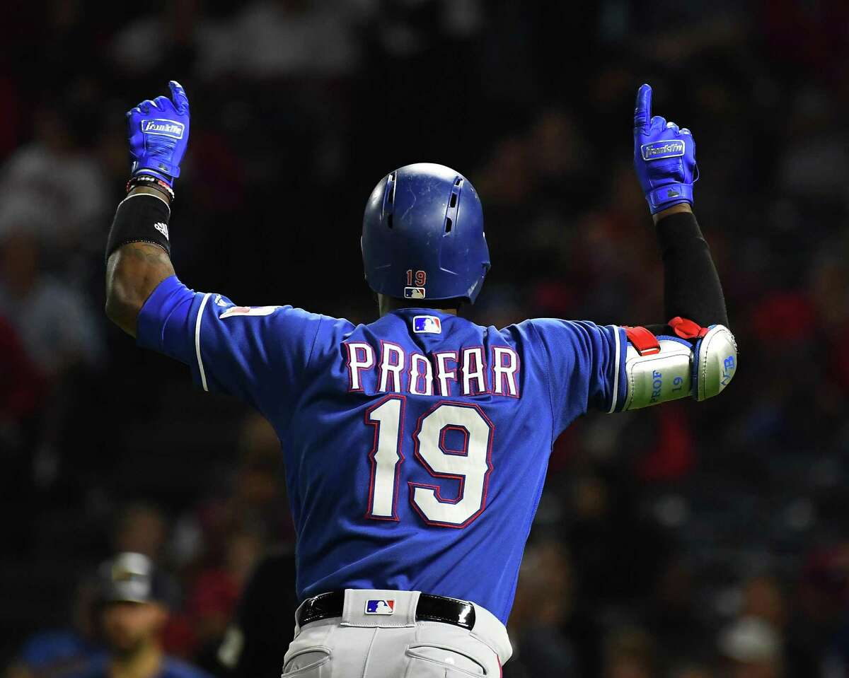 ANAHEIM, CA - SEPTEMBER 24: Jurickson Profar #19 of the Texas Rangers hitscelebrates after hitting a two run home run in the sixth inning of the game against the Los Angeles Angels of Anaheim at Angel Stadium on September 24, 2018 in Anaheim, California. (Photo by Jayne Kamin-Oncea/Getty Images)
