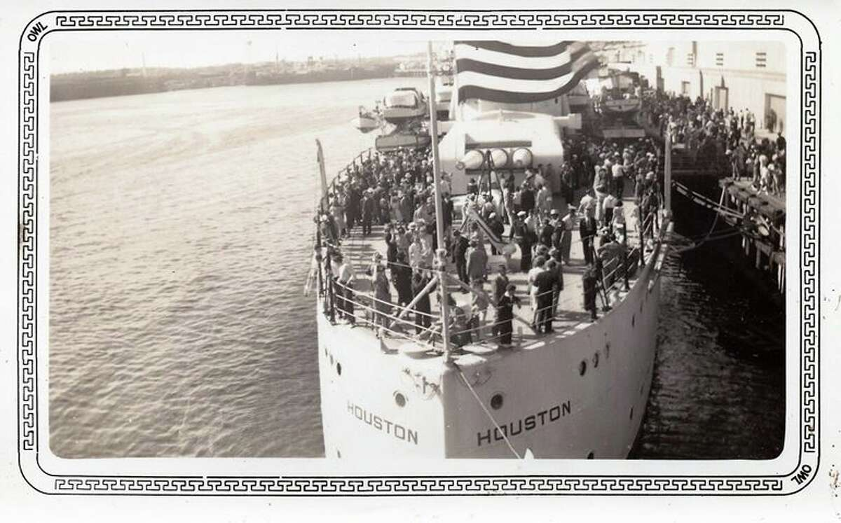 Visitors on board the USS Houston during one of its visits to its namesake city in the 1930s.