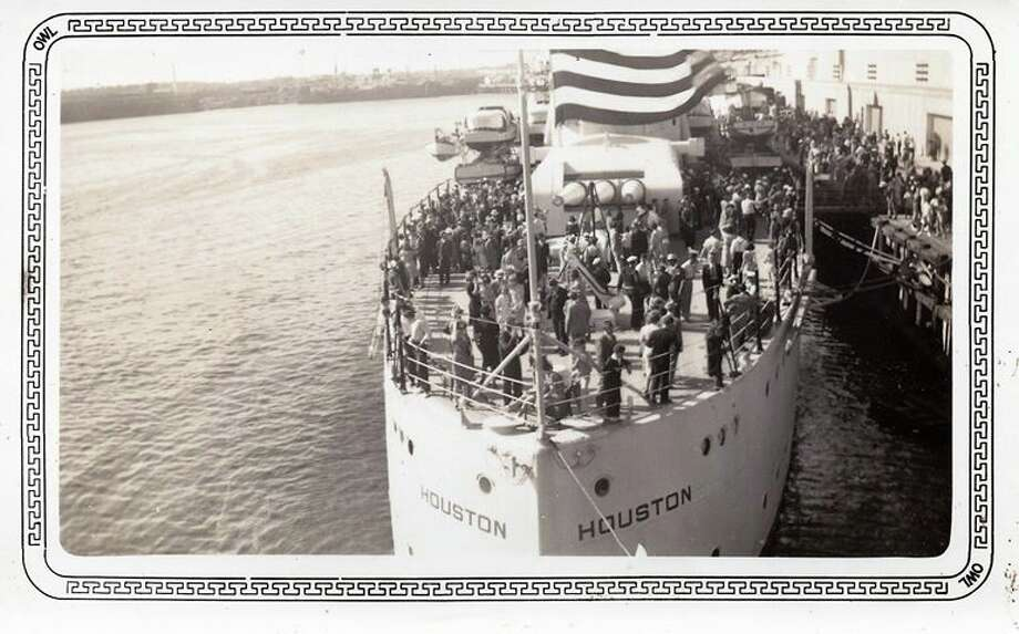 Visitors on board the USS Houston during one of its visits to its namesake city in the 1930s. Photo: Sandra Stockwell Cox