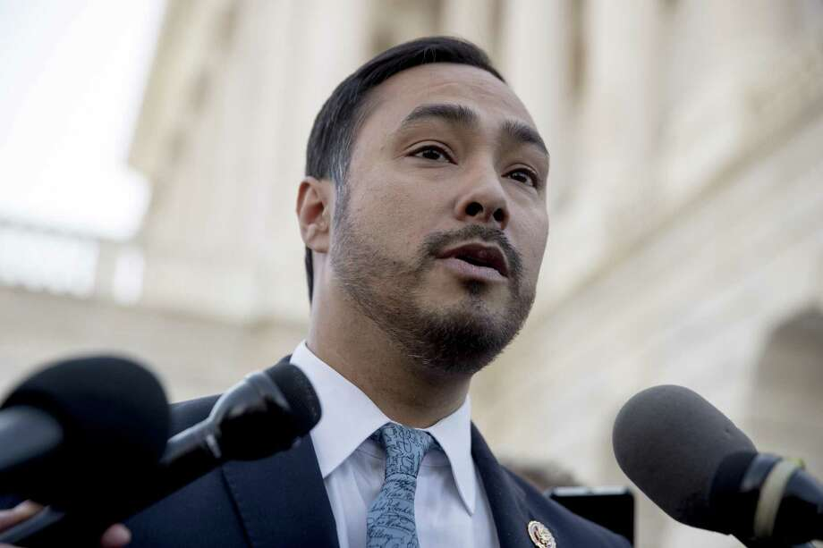 Rep. Joaquin Castro, D-Texas, speaks to reporters outside the Senate on Capitol Hill in Washington, Thursday, March 14, 2019, after the Senate rejected President Donald Trump's emergency border declaration. (AP Photo/Andrew Harnik) Photo: Andrew Harnik, STF / Associated Press / Copyright 2019 The Associated Press. All rights reserved