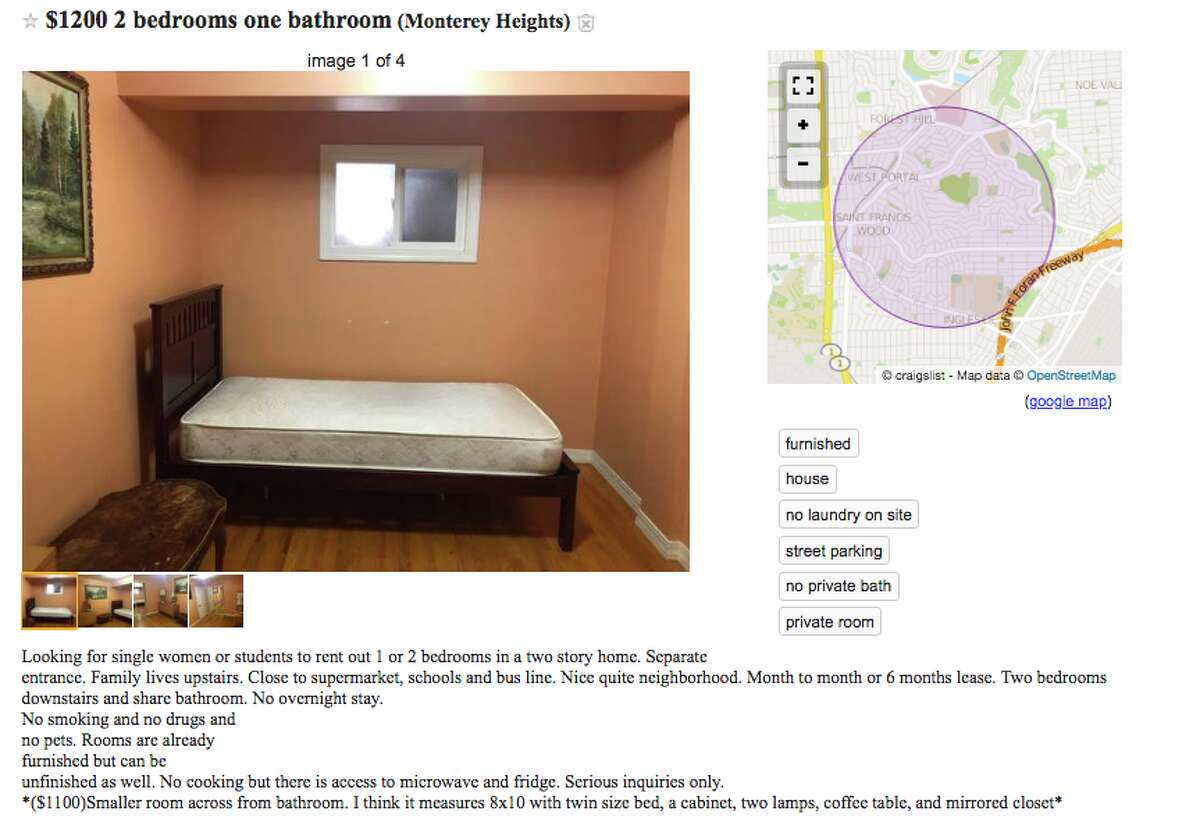 A sampling of Bay Area Craigslist advertisements from March 15, 2019, of units being advertised without kitchens and no cooking or light cooking privileges.