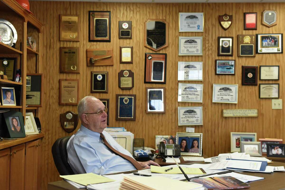 Lake George Village Mayor Bob Blais is interviewed at his office on Wednesday, March 13, 2019, in Lake George, N.Y. He is the state's longest tenured mayor. (Will Waldron/Times Union)