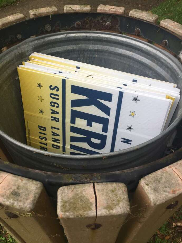 Sugar Land City Council candidate Naushad Kermally said people have been stealing a large chunk of his campaign yard signs from his Telfair neighborhood each day. Photo: Courtesy Of Naushad Kermally