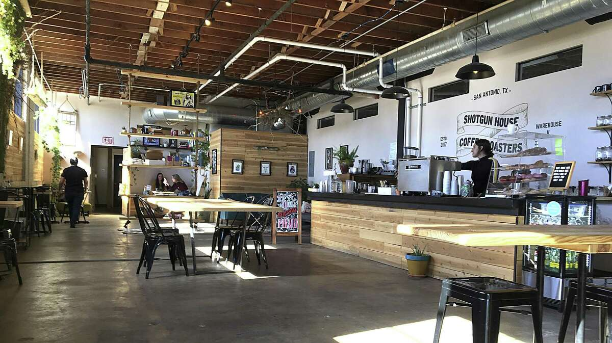 The original Shotgun House Coffee Roasters occupies a warehouse space on San Antonio's West Side.