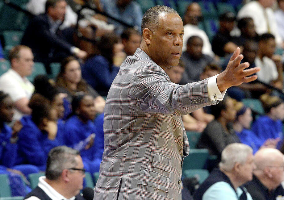 Lamar's coach Tic Price shouts instructions as they battle University of New Orleans during their Southland tournament match-up Thursday at the Merrell Center in Katy. Photo taken Thursday, March 14, 2019 Kim Brent/The Enterprise Photo: Kim Brent/The Enterprise