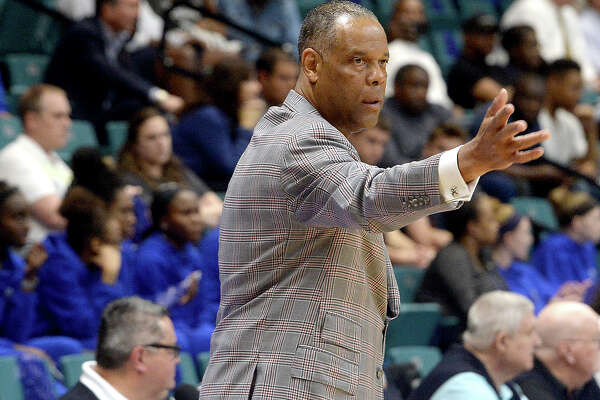 Lamar's coach Tic Price shouts instructions as they battle University of New Orleans during their Southland tournament match-up Thursday at the Merrell Center in Katy. Photo taken Thursday, March 14, 2019 Kim Brent/The Enterprise