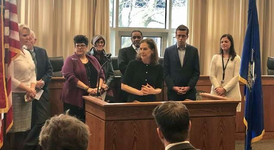 Lt. Gov. Susan Bysiewicz joined Congresswoman Rosa DeLauro, Congressman John Larson, Middletown Deputy Mayor Bob Santangelo, Councilwoman Mary Bartolotta, and other members of the Middletown community on Friday, March 15, 2019, to highlight the importance of a complete count for the 2020 U.S. Census. Photo: Contributed