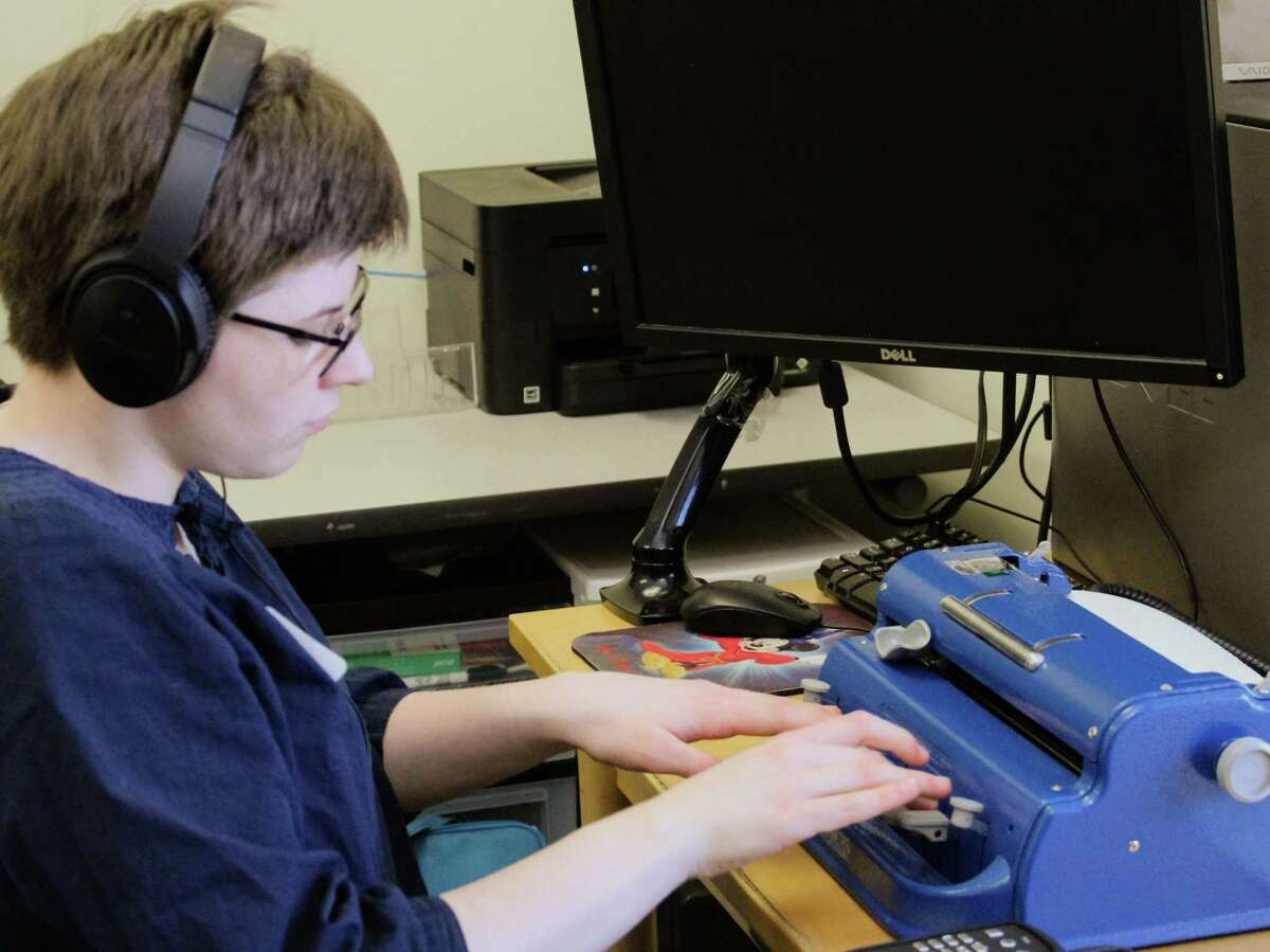 Kelly Cusack of Glenmont was the top scorer in the ?varsity? category (grades 10 and 12) at the 19th annual New England Regional Braille Challenge on March 9, 2019, at The Carroll Center for the Blind in Newton, Mass. The competition, a national program of the Braille Institute, encourages blind and visually impaired children in grades 1 to 12 to hone their braille skills which are essential to success in the sighted world. Regional winners could be eligible to go on to the Braille Challenge finals in Los Angeles in June. (Photo provided)