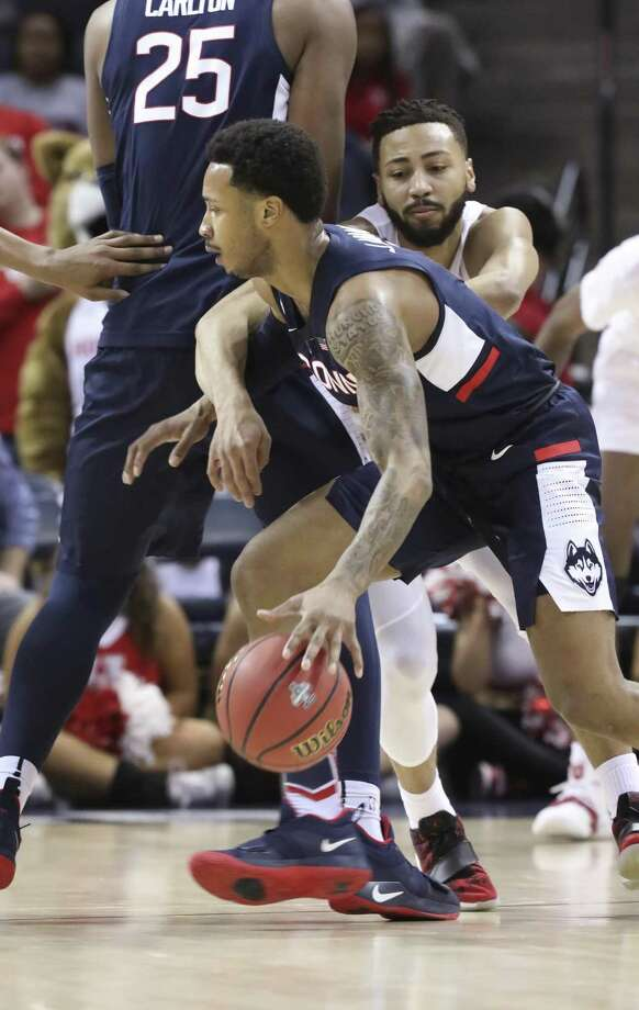 UConn's Jalen Adams finished his career second on the American Athletic Conference's all-time scoring list. Photo: Troy Glasgow / Associated Press / Copyright 2019 The Associated Press. All rights reserved