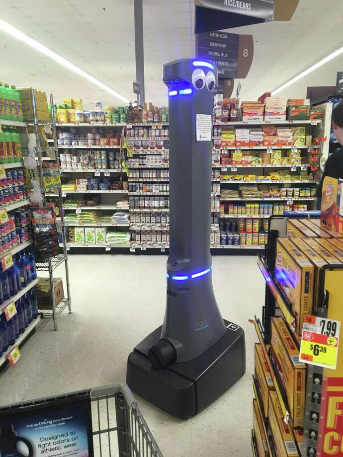 Marty the robot in a Stop & Shop in Amity. Photo: Helen Bennett Harvey / Hearst Connecticut Media