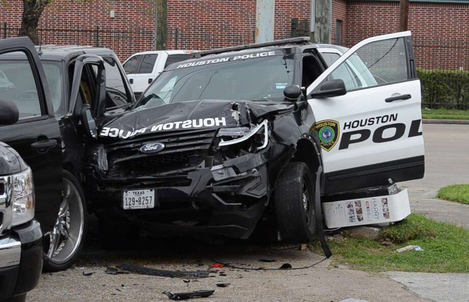 Two officers are going to be OK after crashing on West Little York on Friday, March 15, 2019. Photo: Jay R. Jordan