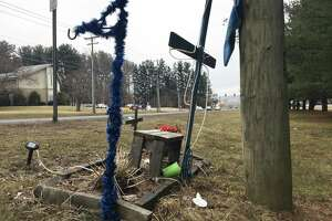 A cross is erected in memory of a pedestrian who was fatally struck while crossing Route 7 in New Milford by Picket District Road. Another man was killed not far from this cross while crossing the road on March 14, 2019.