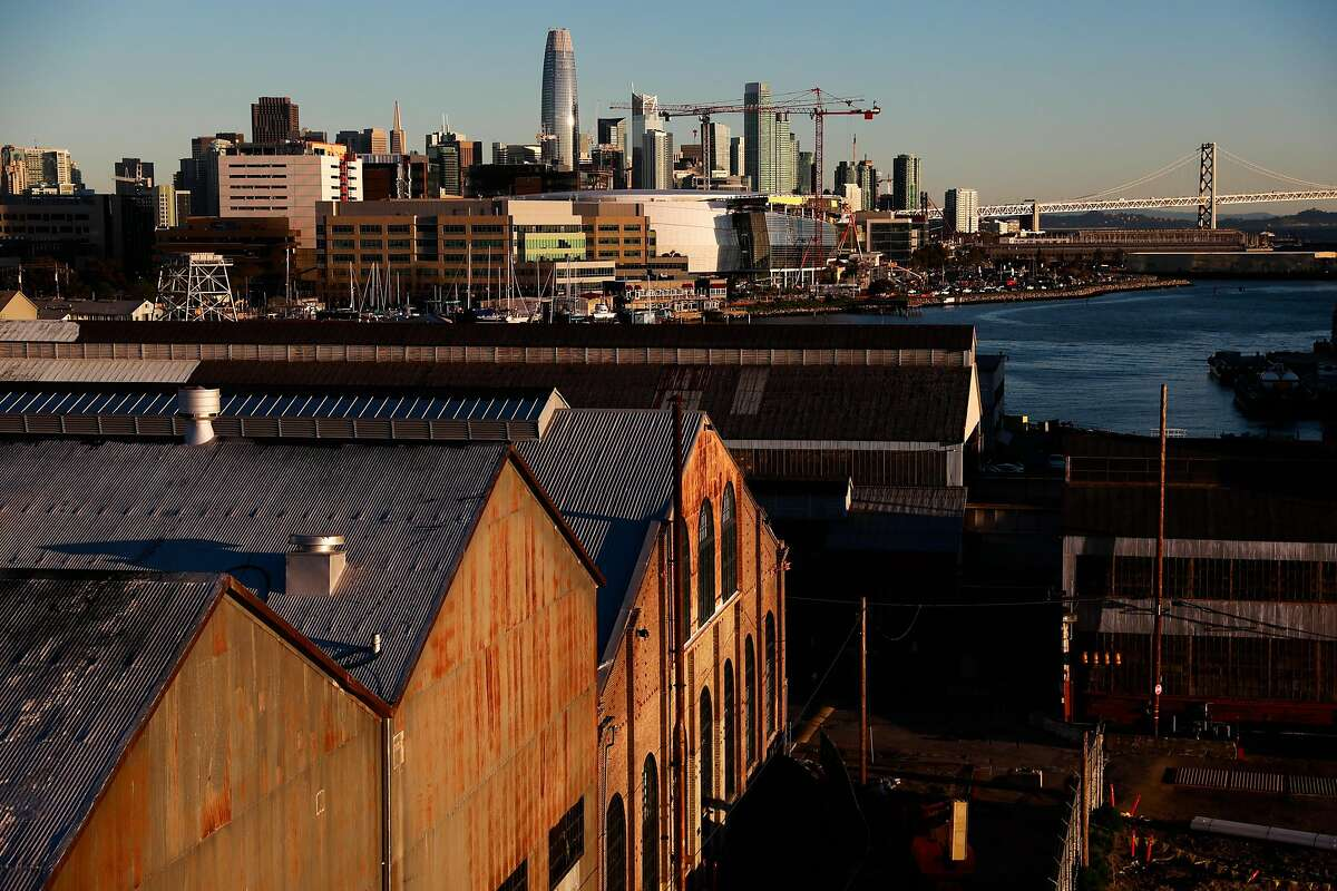 A view of historic buildings and downtown San Francisco is seen from Pier 70 in San Francisco, California, on Wednesday, March 13, 2019.