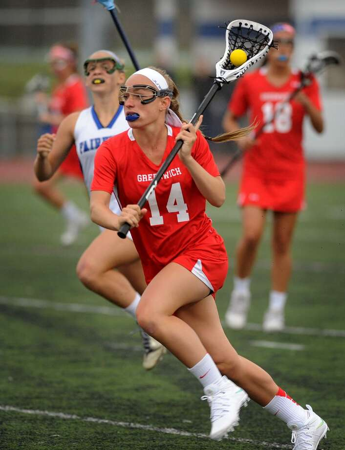 Greenwich's Anne Dunster races the ball upfield during the opening round game versus Fairfield Ludlowe in the girls lacrosse state tournament in Fairfield, Conn. on Monday, June 1, 2015. Photo: Brian A. Pounds / Brian A. Pounds / Connecticut Post