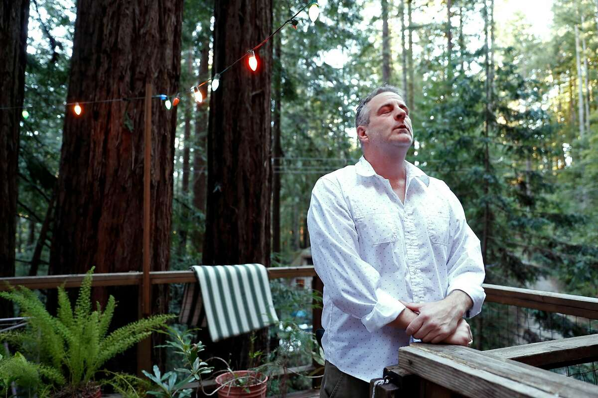 Joe Meisch invented a temple massager to relieve post traumatic stress. Photographed at his home in Cazadero, Calif., on Wednesday, March 13, 2019.