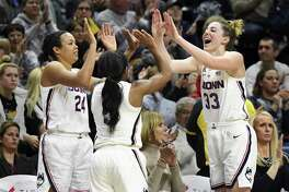 Napheesa Collier (24), Crystal Dangerfield (5), Katie Lou Samuelson (33) and the rest of the UConn Huskies will find out their seed in the NCAA tournament on Monday.