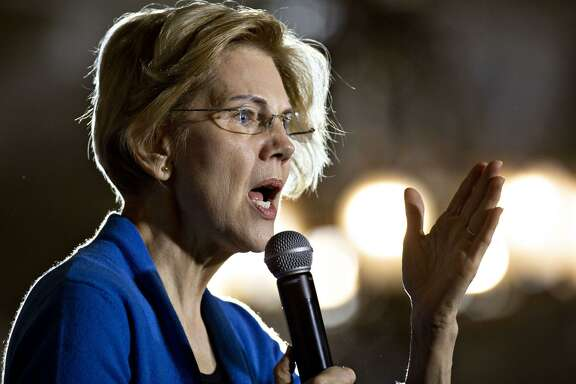 Sen. Elizabeth Warren, a Democrat from Massachusetts and 2020 presidential candidate, speaks during a campaign stop in Iowa City, Iowa, on Feb. 10, 2019. MUST CREDIT: Bloomberg photo by Daniel Acker.